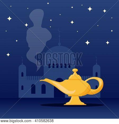 Aladdin's Magic Lamp. Aladdin's Magic Lamp Icon With Genie. Vector Illustration. Vector.