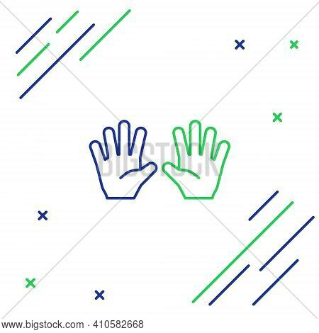 Line Medical Rubber Gloves Icon Isolated On White Background. Protective Rubber Gloves. Colorful Out