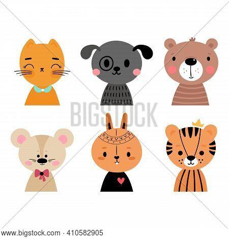 Cute Cartoon Animals For Invitation, Poster, Postcard, Nursery, T-shirt. Hand Drawn Characters Of Ti