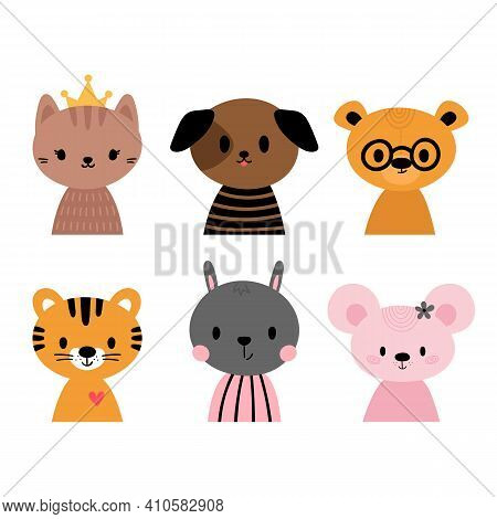 Cute Cartoon Animals For Invitations, Postcards, Nursery, Poster, T-shirt. Hand Drawn Characters Of
