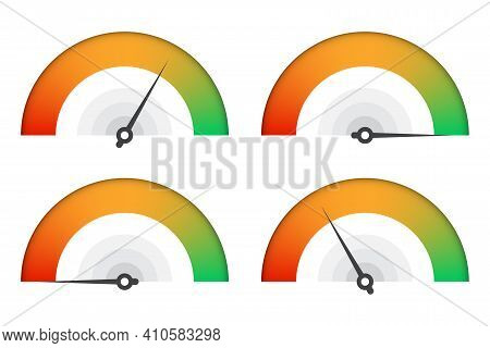 Set Of Customer Satisfaction Meter. Speedometer Scale Collection. Vector Illustration.