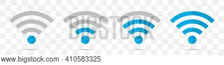 Set Of Blue Wifi Icons In A Flat Design