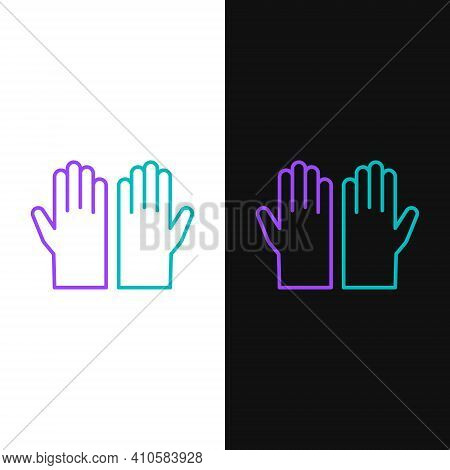 Line Medical Rubber Gloves Icon Isolated On White And Black Background. Protective Rubber Gloves. Co