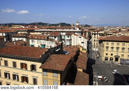 Firenze, Italy - April 21, 2017: View Of Florence City Center, Firenze, Tuscany, Italy