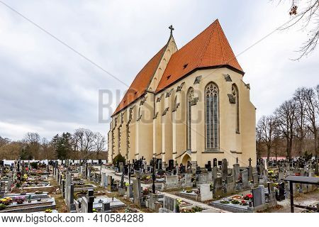 Milevsko, Czech Republic - February 27 2021: View Of The Medieval Roman Catholic Church Of St Giles