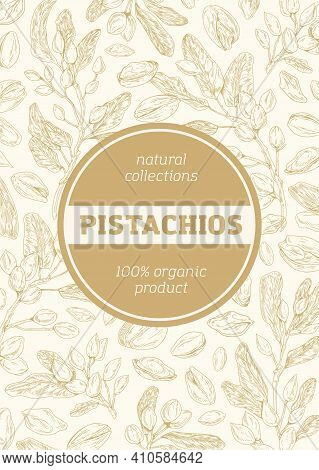 Monochrome Background With Pistachio Pattern For Packaging Design. Vertical Packing Template With Br