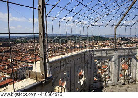 Firenze, Italy - April 21, 2017: Aerial View Of Florence City Center From Giotto's Bell Tower, Firen