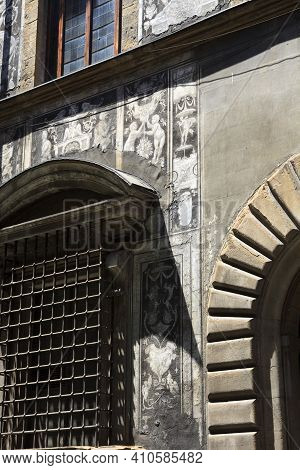 Firenze, Italy - April 21, 2017: Bianca Cappello Palace Facade And Window In Florence, Firenze, Tusc