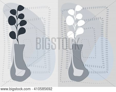 Abstract Set Grey Vase With Eucalyptus And Geometry Background. Interior Posters Grey Wase