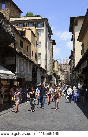 Firenze, Italy - April 21, 2017: People Walking In The City, Florence, Firenze, Tuscany, Italy