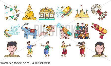 Songkran Thailand Festival Colored Line Icon Set Thai Water Splashing Festive Day, Thai Dancing Trad