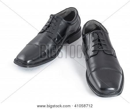 Black Men's Shoes Isolated On White