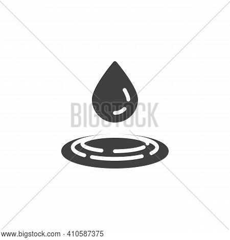Water Drop Fall Vector Icon. Raindrop Filled Flat Sign For Mobile Concept And Web Design. Pure Water