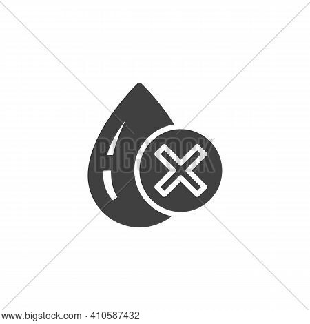 Water Drop And Cross Mark Vector Icon. Filled Flat Sign For Mobile Concept And Web Design. Poor Wate