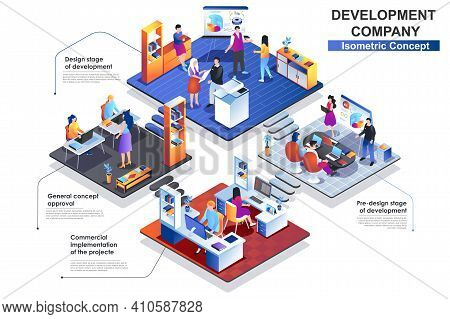 Development Company Interior Isometric Concept. Scenes Of Approval And Design Stages Of Project Deve