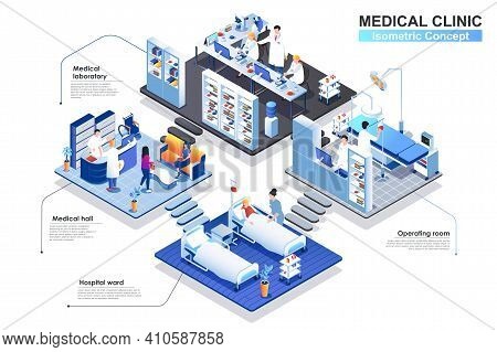 Medical Clinic Interior Isometric Concept. Scenes Of People Characters Work In Departments: Hall, Ho