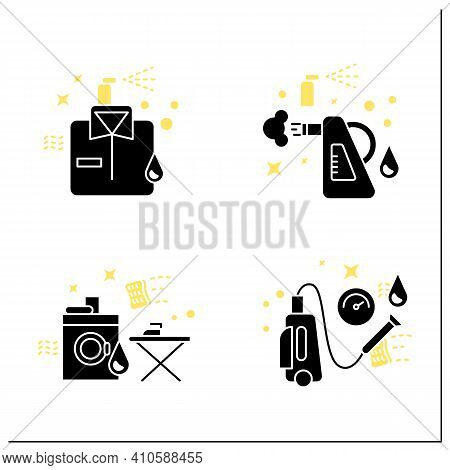 Cleaning Services Glyph Icons Set.consists Of Dry Cleaning, Laundry, Steaming, Pressure Washing. Cle