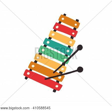 Top View Of Kids Colorful Xylophone With Mallets. Toy Music Instrument For Child. Colored Flat Vecto