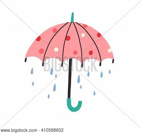 Cute Umbrella With Falling Rain Drops In Doodle Style. Kids Colored Flat Vector Illustration With Ra