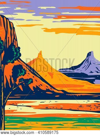 Wpa Poster Art Of The North And South Six Shooter Peak In Bears Ears National Monument Located In Sa
