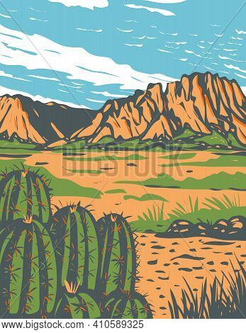 Wpa Poster Art Of The Chihuahuan Desert, A Desert Covering Parts Of Big Bend National Park In Mexico