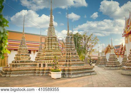 Bangkok, Thailand, December 2011: Wat Pho Temple In Bangkok, Thailand, Showing Phra Chedi Rai Which
