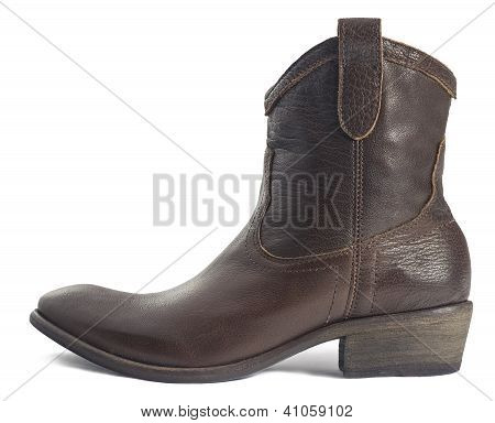 Brown Leather Cowboy Boot Isolated On White