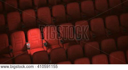 Cinema movie theater concept background. Red cinema seats and cola in empty theater. 3d illustration