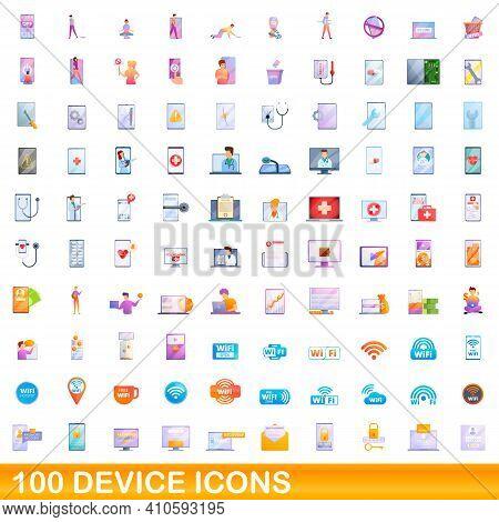 100 Device Icons Set. Cartoon Illustration Of 100 Device Icons Vector Set Isolated On White Backgrou