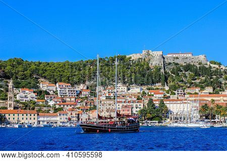 Hvar, Croatia - October 2, 2011: View Of Hvar With Spanish Fortress In The Background