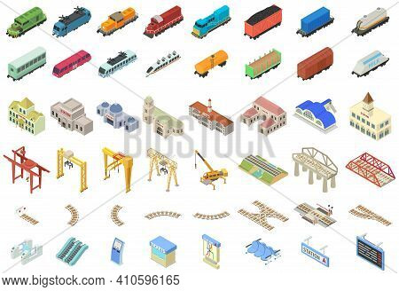 Railway Station Icons Set. Isometric Set Of Railway Station Vector Icons For Web Design Isolated On