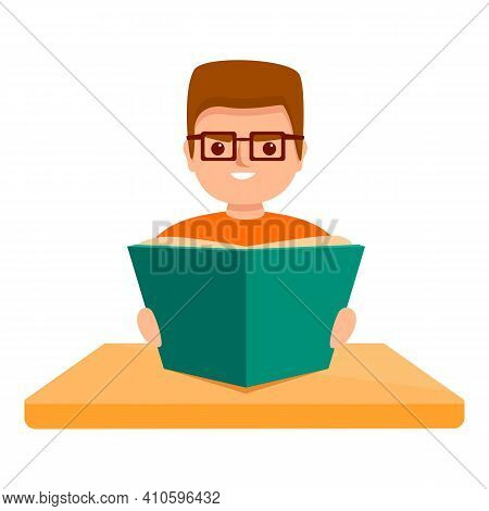 Pupil Reading Icon. Cartoon Of Pupil Reading Vector Icon For Web Design Isolated On White Background