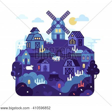 Village With Houses, Barn And A Mill On A Hill - Vector Cartoon Flat Illustration.