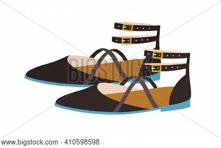 Elegant Womens Sandals With Closed Pointed Toe, Counter And Buckled Ankle Straps. Summer Fashion Str