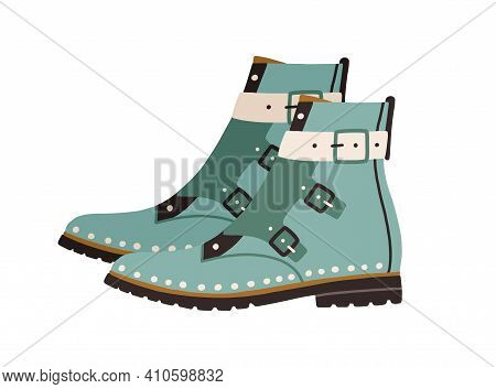Trendy Women Ankle-length Boots With Flat Sole, Cap Toe And Monk Straps Or Buckles. Side View Of Mod
