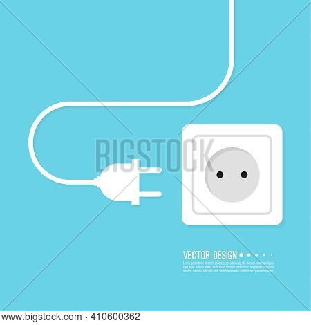Abstract Background With Electric Plug, Wire And Wall Socket. Vector Illustration Concept Of Power O