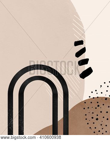 Abstract Shape Pattern. Modern, Minimalist And Terraccota Background. Collage With Brown Shapes, Arc