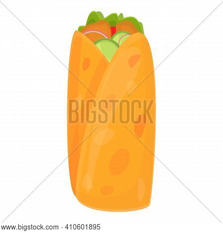 Pita Bread Kebab Icon. Cartoon Of Pita Bread Kebab Vector Icon For Web Design Isolated On White Back