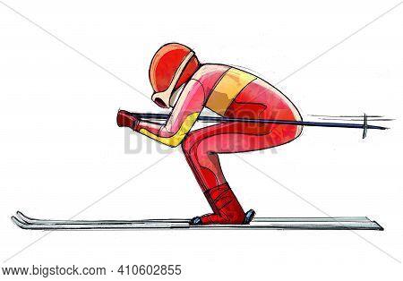 Illustration Of A Skier In Spring Pose