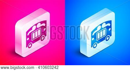 Isometric Circus Wagon Icon Isolated On Pink And Blue Background. Circus Trailer, Wagon Wheel. Silve
