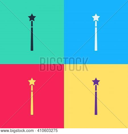 Pop Art Magic Wand Icon Isolated On Color Background. Star Shape Magic Accessory. Magical Power. Vec
