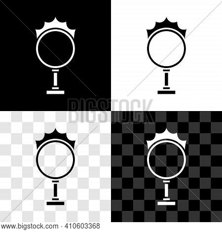 Set Circus Fire Hoop Icon Isolated On Black And White, Transparent Background. Ring Of Fire Flame. R