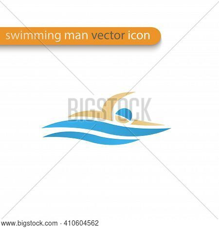 Vector Symbol Of A Swimmer Crawl Stroke. Swimming Pool Icon. Sports Activity In Water Web Sign.