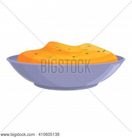 Portion Mashed Potatoes Icon. Cartoon Of Portion Mashed Potatoes Vector Icon For Web Design Isolated