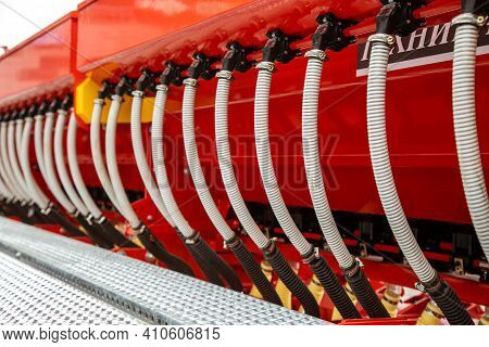 Agrarian Technique. Close-up Of Parts Of Machine Mechanisms