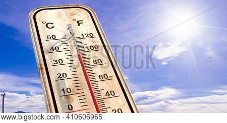 Thermometer On Blue Sky Background, Temperature Forty Degrees Celcius. 3D Illustration