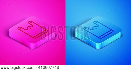 Isometric Line Plastic Bag Icon Isolated On Pink And Blue Background. Disposable Cellophane And Poly