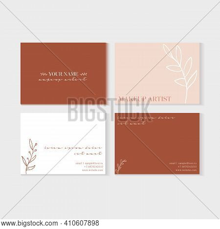 Makeup Artist Business Card Set. Natural Abstract Background In Warm Colors. Leaves Elements. Vector