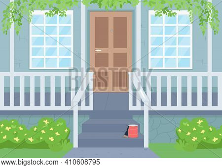 Outdoor House Renovation In Spring Flat Color Vector Illustration. Painting Fence On Porch. Patio Ma