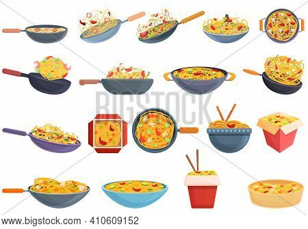 Wok Menu Icons Set. Cartoon Set Of Wok Menu Vector Icons For Web Design
